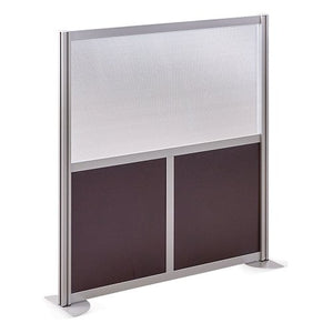 "at Work 49"" W x 53"" H Room Divider Espresso Laminate and Plexiglas Inserts/Brushed Nickel Finish Aluminum and Steel Frame"