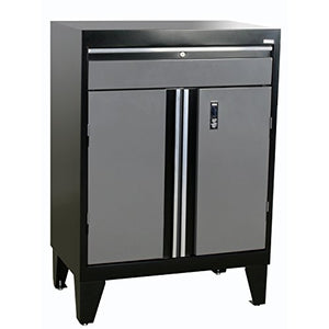 "Sandusky Lee GADF301836-029L Modular System Base Storage Cabinet with Drawer, 30"" Width x 18"" Diameter x 43"" Height, Black/Charcoal"
