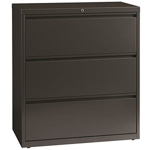 "Hirsh HL8000 Series 36"" Wide 3 Drawer Lateral File Cabinet in Charcoal"