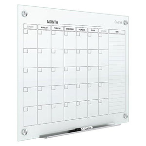 Quartet Magnetic Whiteboard Calendar, Glass Dry Erase White Board Planner, 4' x 3', White Surface, Frameless, Infinity (GC4836F)