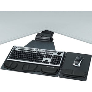 Fellowesamp;reg; Corner Executive Computer Keyboard Tray, 28-1/8 x 21-1/4, Black