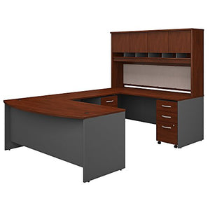 Bush Business Furniture 72W Bow Front U Shaped Desk with Hutch and Storage in Hansen Cherry
