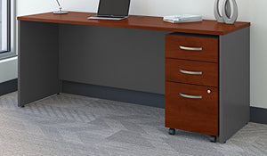 Bush Business Furniture Series C 72W x 24D Office Desk with Mobile File Cabinet in Hansen Cherry