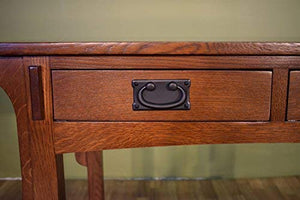 Mission Quarter Sawn Oak Desk with Two Drawers & Storage