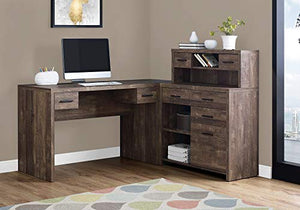 Monarch Specialties L-Shaped Computer Desk with Hutch, Brown Woodgrain