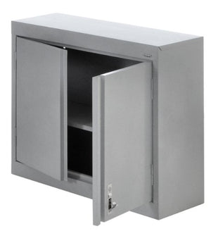 "Sandusky GA1P301226-MG Silver Metallic 3-In-1 Steel Wall Cabinet, 1 Shelf, 180 lb. Capacity, 26"" Height x 30"" Width x 12"" Depth"