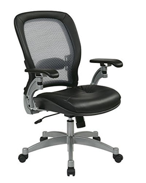 Office Star Light Air Grid Chair with Leather Seat and Platinum Accents (Black Chair)
