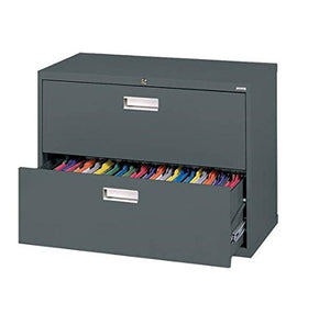 "Sandusky Lee LF6A362-02 600 Series 2 Drawer Lateral File Cabinet, 19.25"" Depth x 28.375"" Height x 36"" Width, Charcoal"