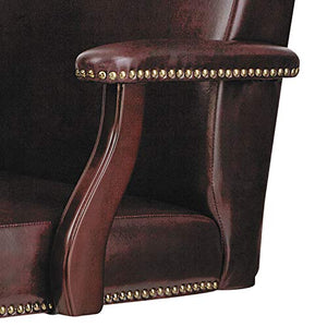 Alera ALETD4136 Traditional Series High-Back Chair, Mahogany Finish/Oxblood Vinyl