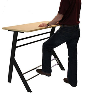 Stand2Learn Double Student Desk with Black Frame and Laminate Fusion Maple Top Grades 3-5 S2LY26B