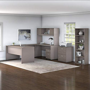 Bush Furniture Commerce 60W U Shaped Desk with Hutch, File Cabinets and Bookcase in Cocoa and Pewter