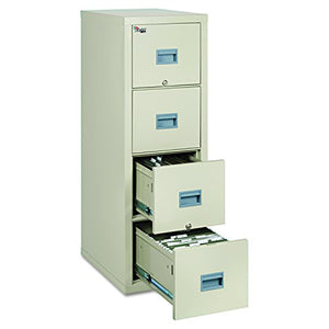 "FireKing Patriot 4P1825-CPA One-Hour Fireproof Vertical Filing Cabinet, 4 Drawers, Deep Letter or Legal Size, 18"" W x 25"" D, Parchment, Made in USA"