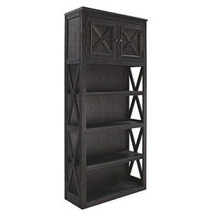 Ashley Furniture Signature Design - Tyler Creek Large Bookcase - Casual - 3 Shelves/1 Cabinet - Grayish Brown/Black Finish - Antiqued Bronze Hardware