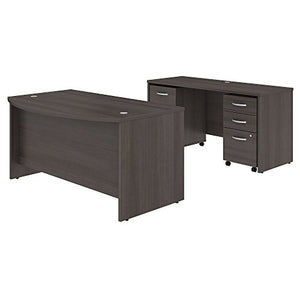 Studio C 60W x 36D Bow Front Desk and Credenza with Mobile File Cabinets in Storm Gray