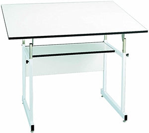 "Alvin WM72-4-XB WorkMaster Table with White Steel Base and White Melamine Table Top 37.5"" x 72"" Inches, Height Adjusts from 29"" to 46"" in Horizontal Position, Angle Adjusts from Horizontal 0° to 40°"