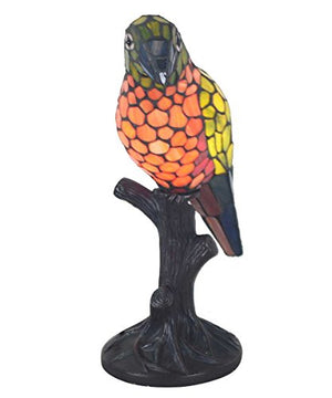 "16.5"" Pretty Parrot Stained Glass Accent Lamp"