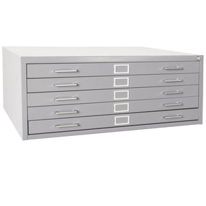 "Sandusky 244879GY Heavy Duty Welded Steel 5 Drawer Flat File Storage Cabinet, 46-3/4"" Width x 16-1/8"" Height x 35-3/8"" Depth, Dove Gray"