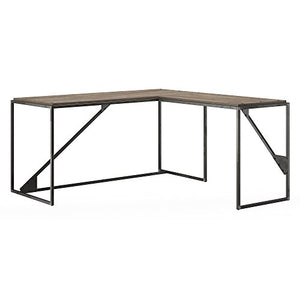 Bush Furniture Refinery 62W L Shaped Industrial Desk with 37W Return in Rustic Gray