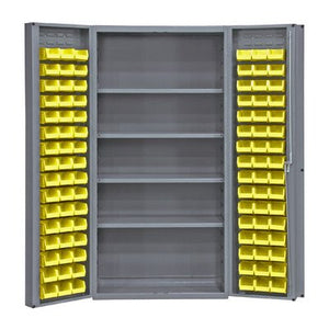 "Durham Heavy Duty Welded 14 Gauge Steel Cabinet with 96 Bins, DC-DLP-96-4S-95,  900 lbs Capacity,  24"" Length x 36"" Width x 72"" Height,  4 Shelves"