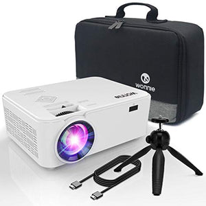 "WONNIE Projector, Mini Projector 2200 Lumens 170"" Display, Multimedia Home Theater Video Projector, 1080P Support Compatible TV Stick HDMI VGA USB AV TF Device, 4Inch"
