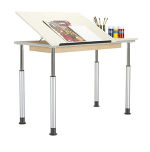 "Diversified Woodcrafts ALTD1-6030 Adjustable Leg Drafting Table, Single Station, 28-42"" Height, 30"" Width, 60"" Length, Silver/Almond"