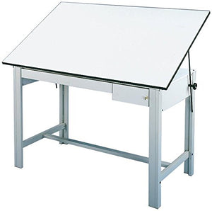 Alvin DM72CT DesignMaster Table, Gray Base White Top 2 Drawers 37.5 inches x 72 inches