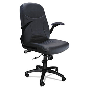 Mayline 6446AGBLT Comfort Series Big and Tall 500 lb. Task Chair with Pivot Arms, Black Leather