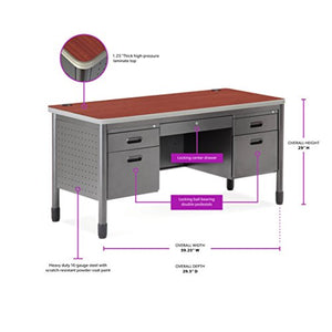 "OFM Mesa Series 5-Drawer Steel Desk with Laminate Top - Durable Locking Utility Desk, Cherry, 30"" x 60"" (66360-CHY)"