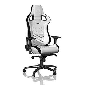 noblechairs Epic Gaming Chair - Office Chair - Desk Chair - PU Faux Leather - 265 lbs - 135° Reclinable - Lumbar Support Cushion - Racing Seat Design - White/Black