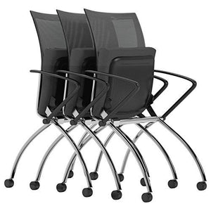 Mayline Group Safco Products Valoré High Back Chair with Arms TSH1BB, Black, Reclining Mesh Back, Fabric Seat, Compact Nesting Storage (Qty. 2)