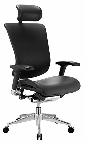 GM Seating Ergonomic Executive Genuine Leather Chair Dream Chair Chrome Base