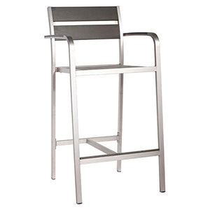 Zuo Megapolis Bar Arm Chair (Set of 2), Brushed Aluminum