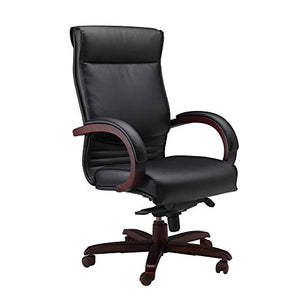 Mayline CSMAH Napoli High Back Leather Task Chair with Arms, Mahogany Veneer, Black Leather