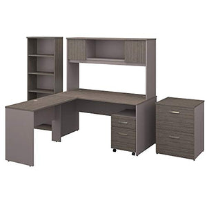 Bush Furniture Commerce 60W L Shaped Desk with Hutch, File Cabinets and Bookcase in Cocoa and Pewter