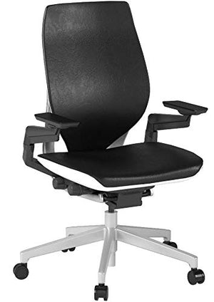 Steelcase Gesture Office Chair - Black Leather, Low Seat Height, Shell Back, Light on Light Frame, Polished Aluminum Base