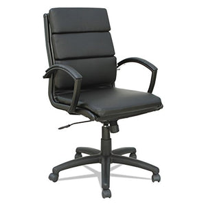 Alera ALENR42B19 Neratoli Mid-Back Slim Profile Chair, Black, Leather