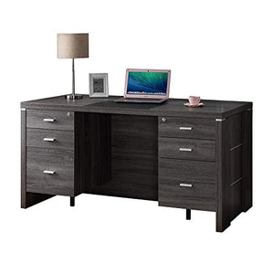 Benzara BM179608 Wooden Desk with Locking Drawers, Gray