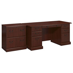 kathy ireland Home by Bush Furniture BNT007CS Bennington Manager's Desk and Lateral File Cabinet, Harvest Cherry