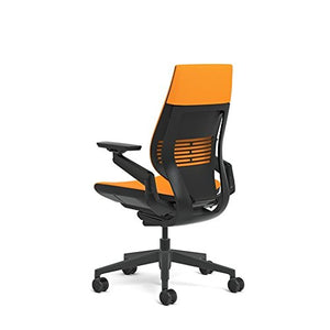 Steelcase Gesture Office Chair - Cogent Connect Tangerine Upholstered Wrapped Back Black Frame Medium Seat Black Seat/Back/Arms Hard Floor Caster Wheels
