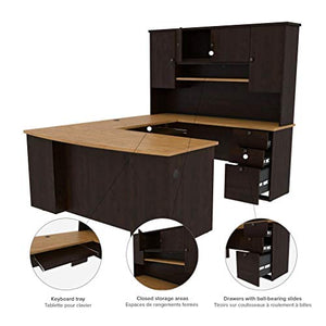Bestar Manhattan U-Shaped Workstation, Secret Maple/Chocolate