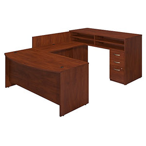 Series C Elite 72W x 36D Bow Front U Station with Standing Height Desk and Storage in Hansen Cherry