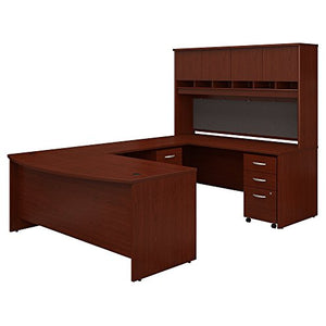 Bush Business Furniture 72W Bow Front U Shaped Desk with Hutch and Storage in Mahogany
