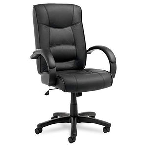 Alera ALESR41LS10B Strada Series High-Back Swivel/Tilt Chair, Black Top-Grain Leather