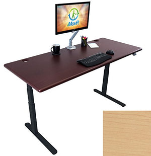 "Lander Electric Adjustable Height Sit Stand Desk, Black Base (Light Maple Top, 30"" x 59"")"
