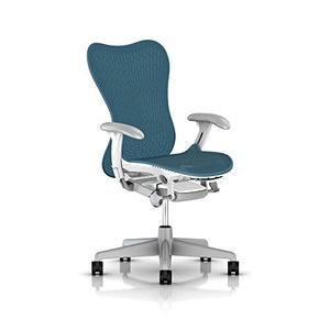 Herman Miller Mirra 2 Office Chair Tilt Limiter - Adjustable Arms and Seat - Dark Turquoise Butterfly Suspension Latitude Back with Studio White Frame Fog Base - Adjustable Lumbar Support - C7 Hard Floor Casters