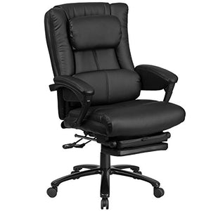 Flash Furniture High Back Black Leather Executive Reclining Swivel Chair with Lumbar Support, Comfort Coil Seat Springs and Arms