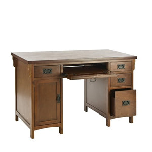 Southern Enterprises Mission Computer Desk - 4 Drawers w/Keyboard Tray - Brown Mahogany Finish
