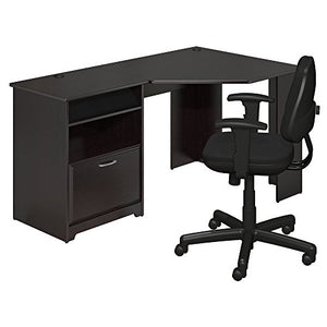 Bush Furniture Cabot Corner Desk and Office Chair in Espresso Oak