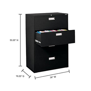 "Sandusky Lee 600 Series Lateral File Steel 4-Drawer Cabinet, 36"" Width x 53-1/4"" Height x 19-1/4"" Depth, Black"