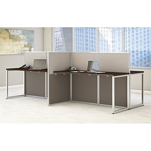 Bush Business Furniture Easy Office 60W 4 Person Straight Desk Open Office in Mocha Cherry
